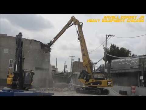 Caterpillar 345D UHD Demolishing 3 Story Building