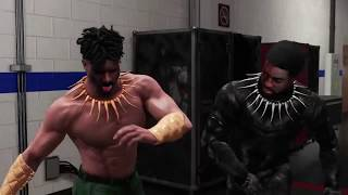 WWE 2K18 Black Panther Alt. Attire VS Killmonger Alt. Attire Backstage Brawl