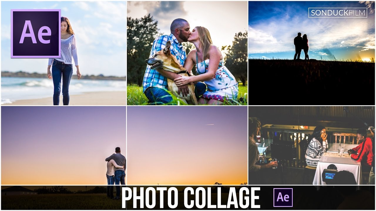 After Effects Tutorial: PHOTO GALLERY Slideshow Collage Animation