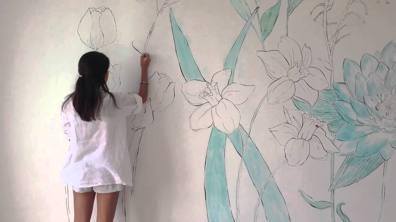 Wall Art Painting wall art -flowers in my room- speed painting - youtube
