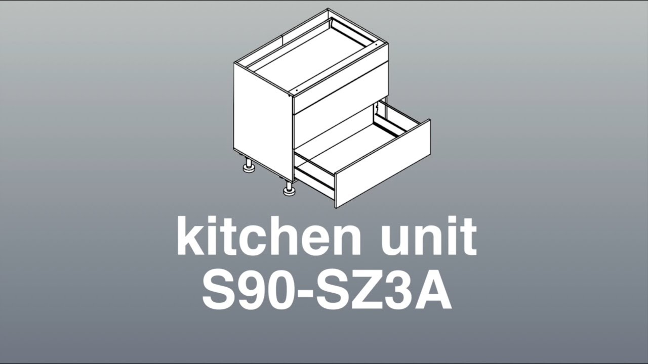 Assembly For 900mm Wide Three Drawer Unit Annotated Kitchen