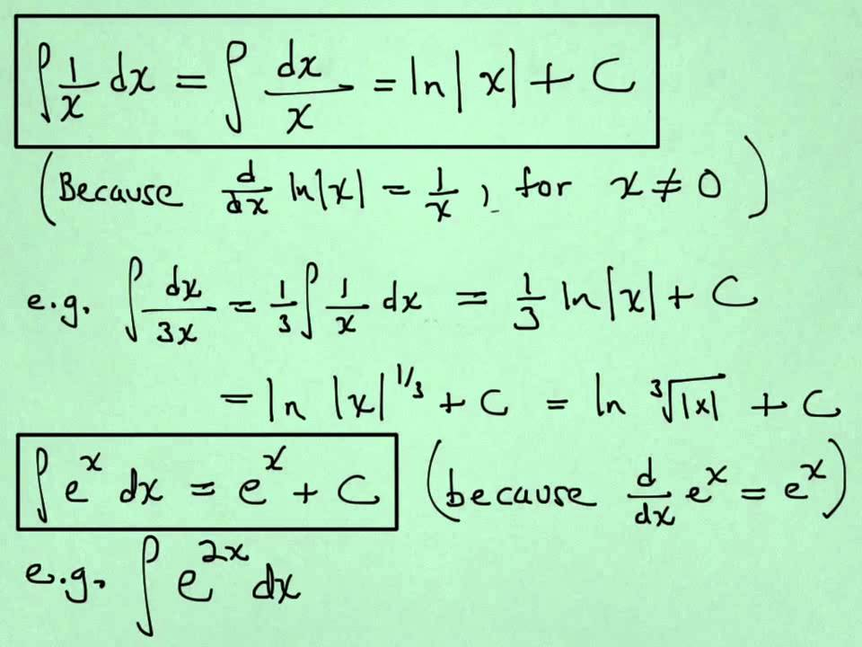 Ppt §4. 2 integration using logarithmic and exponential functions.