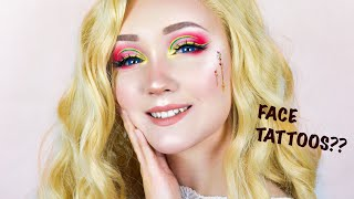 FLOWER FACE TATTOO?! | MAKEUP TUTORIAL USING TEMPORARY TATTOOS + BEAUTY BAY EYESHADOW PALETTE