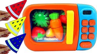 Microwave Toy Surprise Wooden Toys Cutting Fruit & Ice Cream Video Fun For Kids Nursery Rhymes Song
