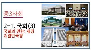 2021 중3 사회 2-1. 국회(3) 국회의 권한