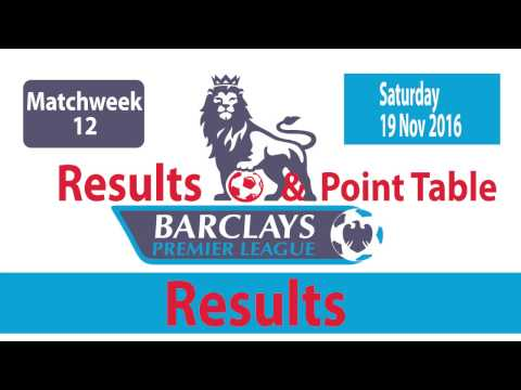 English PREMIER LEAGUE  Matchweek 12 : Results, Goals , Point Tables |  (19/11/2016)