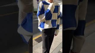 리얼 오버핏 체스 체크 니트-블루