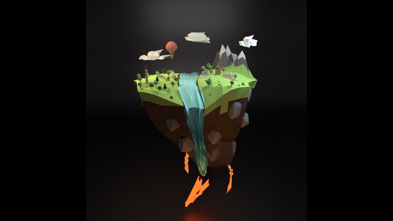 Free Wallpaper 3d 1080p Low Poly Floating Island Blender Cycles 2 77 Youtube