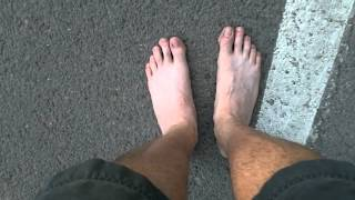 Barefoot Running on a Hot day. White lines rock! (Day 3)