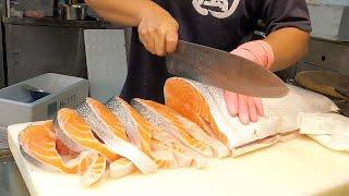 Easy way to cut Salmon for Pan fried salmon | Salmon Steaks!