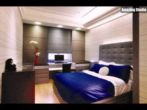 blau grau schlafzimmer dekor youtube. Black Bedroom Furniture Sets. Home Design Ideas