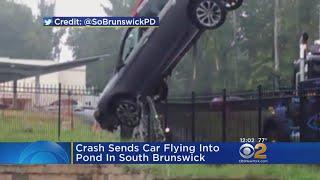Crash Sends Car Flying Into South Brunswick Pond