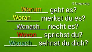 A1, A2, B1, B2 Übungen: Fragewörter, Fragen: wozu, womit, wovon, wovor, woran, worum, worüber, wofür