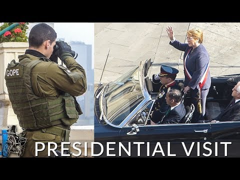 MOTORCYCLE IN SANTIAGO & THE PRESIDENT OF CHILE