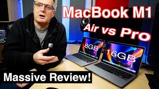 MacBook Air M1 vs MacBook Pro M1 (2021). 8GB vs 16GB. Full review and real performance demos.