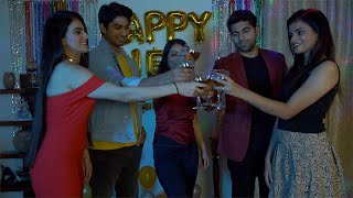 Cheerful party friends enjoying and celebrating New Year Eve together in India