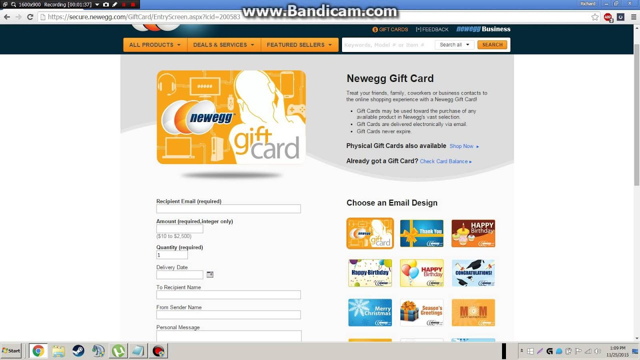 How to order NewEgg giftcards - YouTube