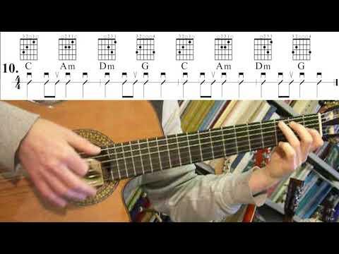 Oefenen met Akkoorden / Chord Practice  10. C Am Dm G (Tien Kleine Visjes)