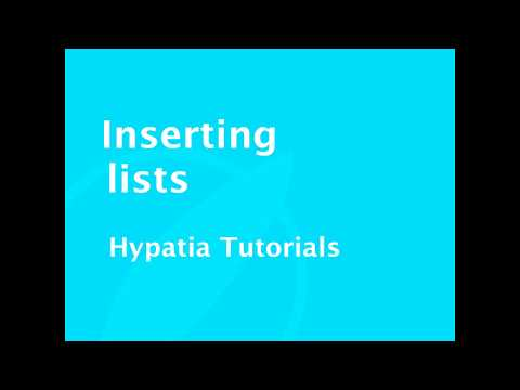 Tutorial   Inserting lists