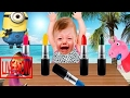 Colors for Children to Learn with BABY CRY with MASHA and Lipsticks ! FINGER FAMILY Song Colle #KRP