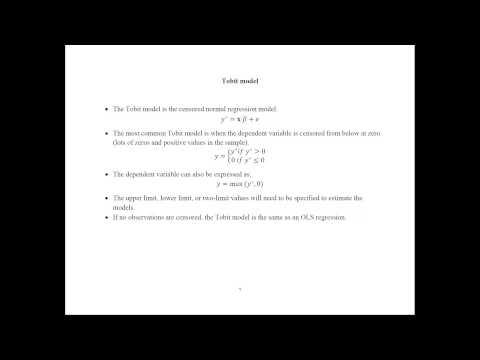 Econometrics - Limited Dependent Variable Models