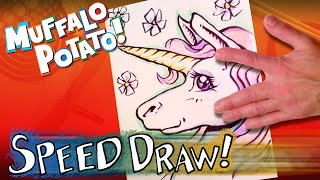 SPEED DRAW a UNICORN by tracing your HAND with Muffalo Potato