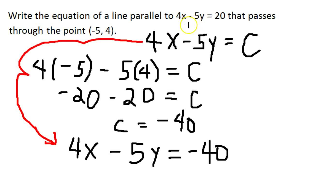 2-D Linear Equations in Standard Form - Parallel Lines - More ...
