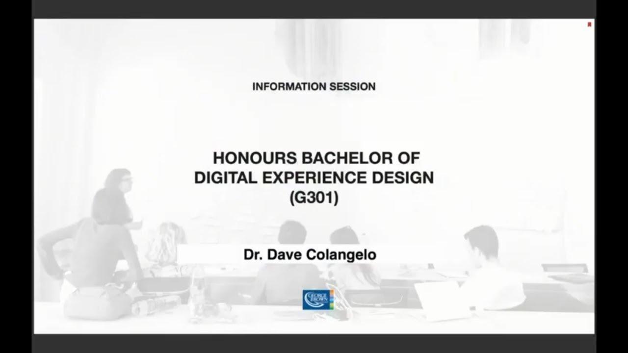 Honours Bachelor Of Digital Experience Design Program G301 Online Info Session Youtube