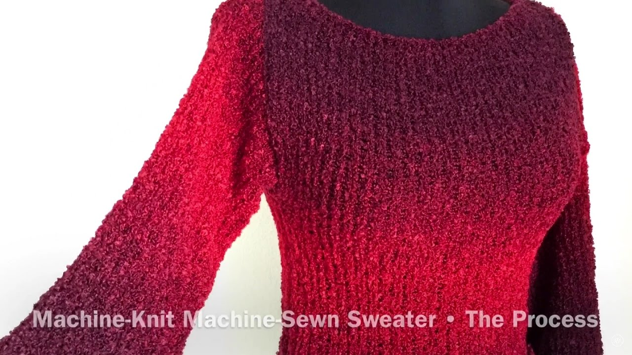 Making a Sweater Little Red Cropped Ombré Bouclé Knitting Sewing ...