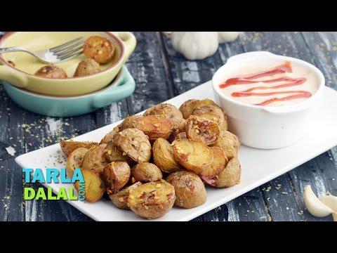 Herbed Baby Potatoes with Garlic Mayo Dip by Tarla Dalal