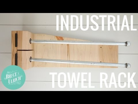 Metal and Wood Towel Rack with Swinging Arms // DIY Woodworking