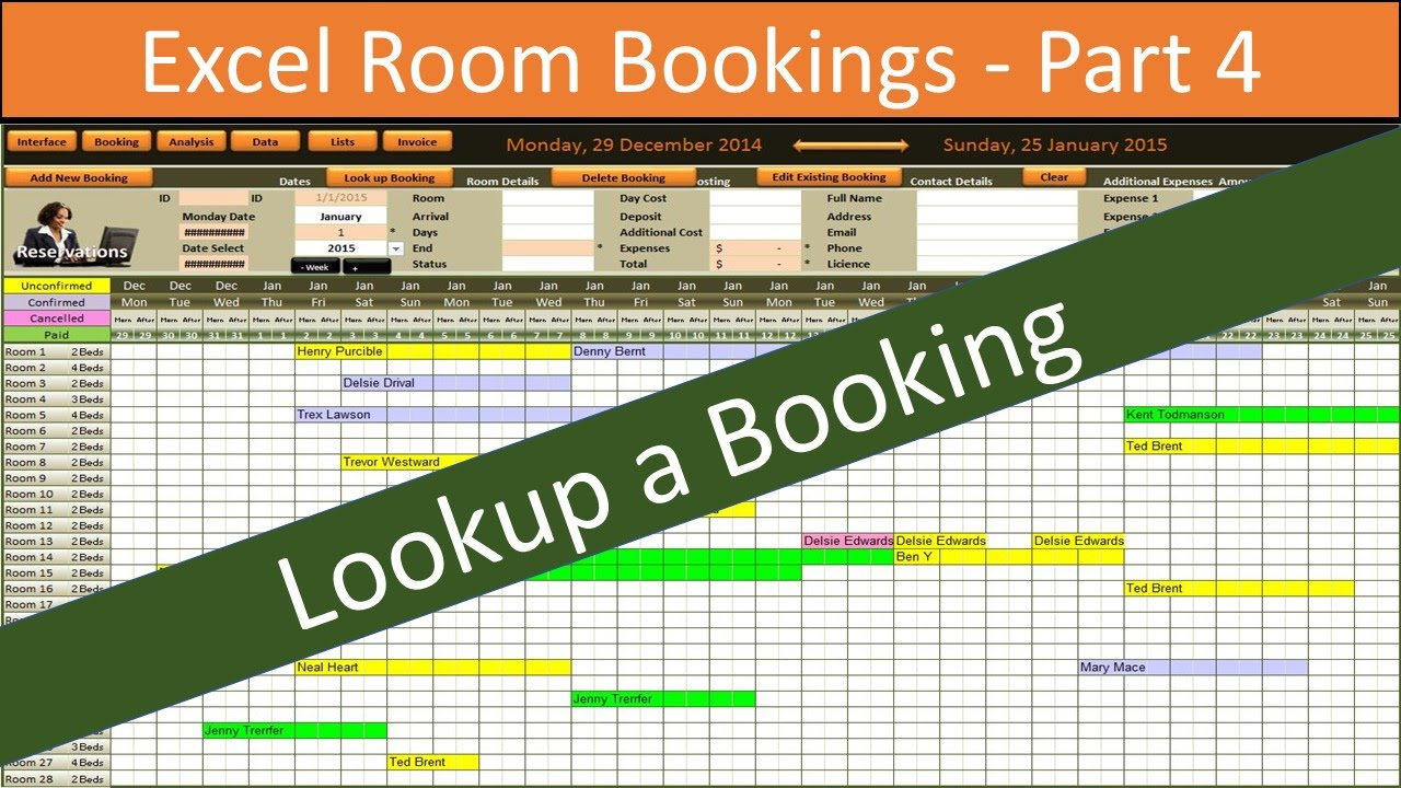 Excel Room Bookings Vba Lookup Youtube