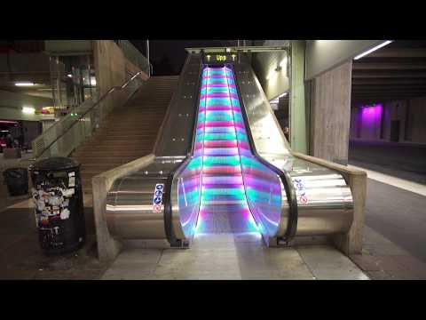 Sweden, Stockholm, Akalla subway station, 1X rainbow escalator, 1X elevator