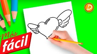 Dibujos de Amor Fáciles de Hacer a Lápiz - How to Draw a Simple Love Heart Step by Step With Wings