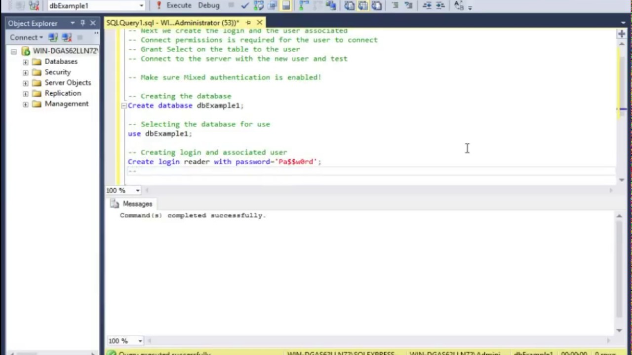 Create SQL user with select permissions