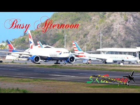 Rush Hour !!! British Airways 777, American 737's, A319, Delta 737..@ St. Kitts R.L.B Int'l Airport