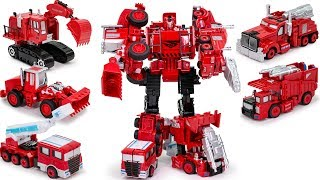 Red Color Defomation Fire Rescue team Combiner 5 in 1 Transformers Vehicles Car & Truck Robot Toys