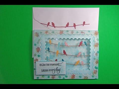 AliExpress Bird Die Layered Card w/ Peg Stamps & Chalks