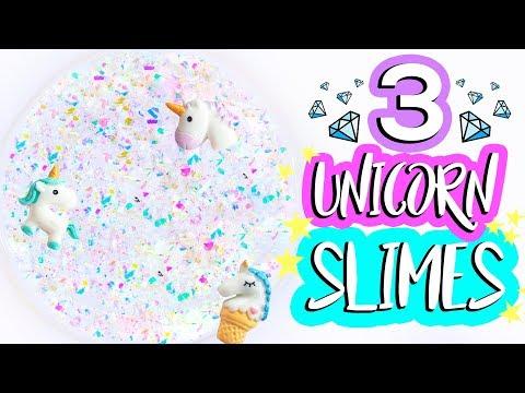 3 DIY Unicorn Slime Recipes! How To Make Easy Iridescent Glitter Clear Slimes
