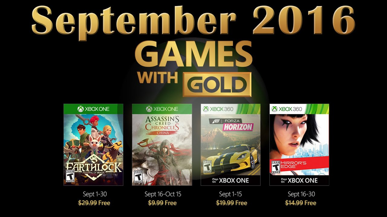 Games With Gold September 2016 Youtube
