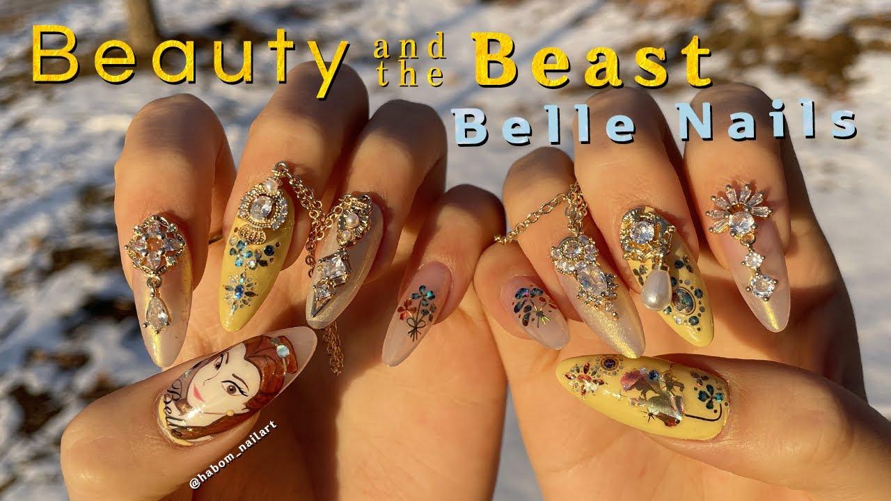 Eng) 디즈니 '미녀와 야수' 벨 공주 네일💛 Disney Princess Belle nails tutorial