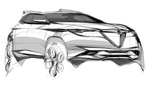 How to sketch a car (Alfa Romeo CUV)