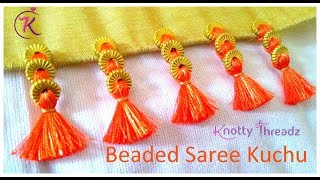 Baby Kuchu Design using 3 Beads | Easy Method | Saree Kuchu | Tassels | www.knottythreadz.com