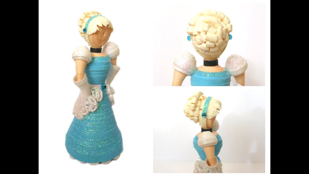3d Paper Quilled Cinderella Doll Youtube