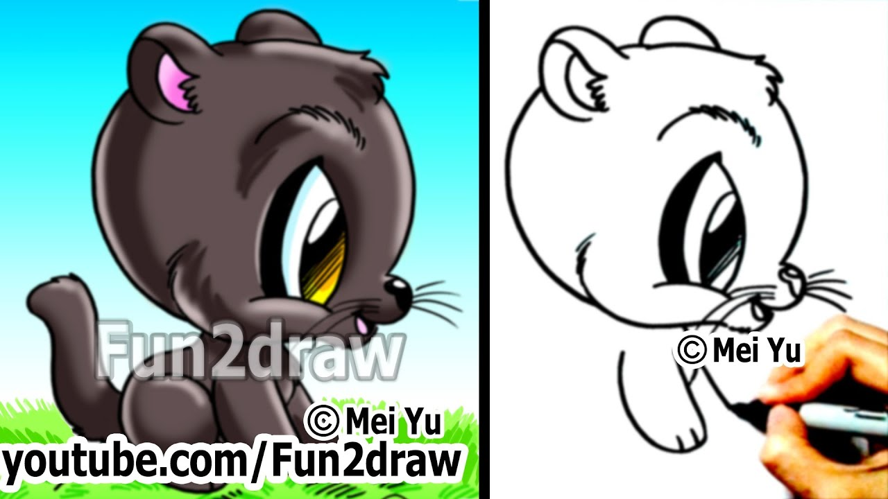 How to Draw Cool Cats - How to Draw a Panther - Cute Art ...