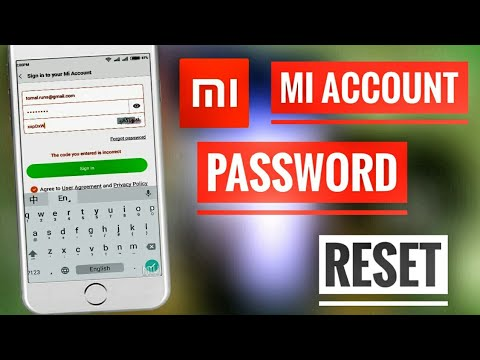 Mi account password forget  how to reset