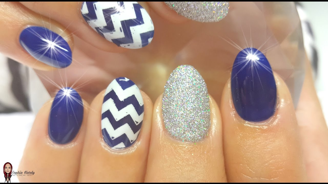 Acrylic Nails With A Navy Chevron Design - YouTube