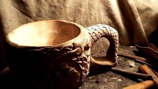 Кукса. оформление ручки деревянной кружки.плетение.резьба по дереву.wooden ware, wood carving