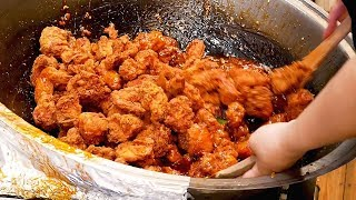 Sweet and sour chicken (Dakgangjeong) - Korean street food