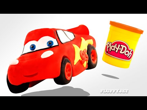 Thumbnail: Play Doh McQueen Disney Cars toy for kids Family Fun Stop Motion Pixar Race Car Ride driving